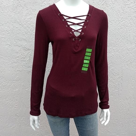 bd1baf7630 Jessica Simps Rib V Neck Knit Top Burgundy